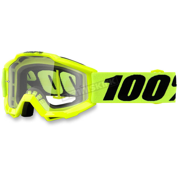100% Youth Fluorescent Yellow  Accuri Goggle w/Clear Lens - 50300-004-02