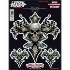 Gold Piston Skull Decal Set - LT88077