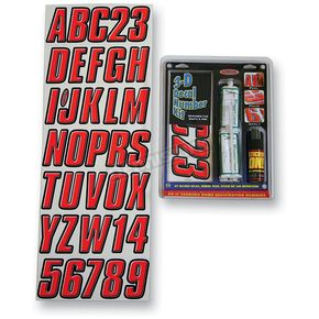 Hardline Red 3-D Dome Decal Number Kit - REBLK800D