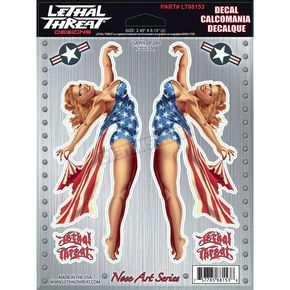 Lethal Threat USA Pinup Girl Decal Set - LT88153