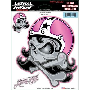 Lethal Threat Girl Skull Helmet Decal Set - LT88225