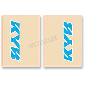 FLU Designs Cyan Blue/White KYB Upper Fork Decals - 01014