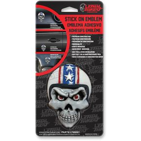 Lethal Threat Retro Biker Skull Stick-On Emblem - LT88681