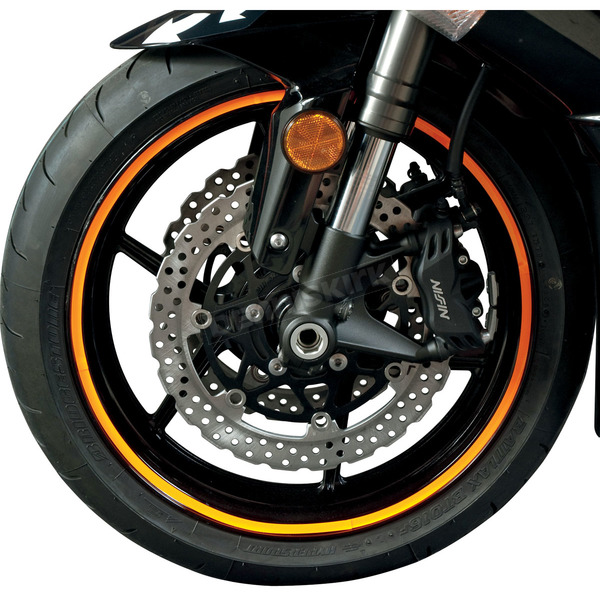 FLU Designs Sport Bike Fluorescent Orange Wheel Trim Decal Kit - 60607