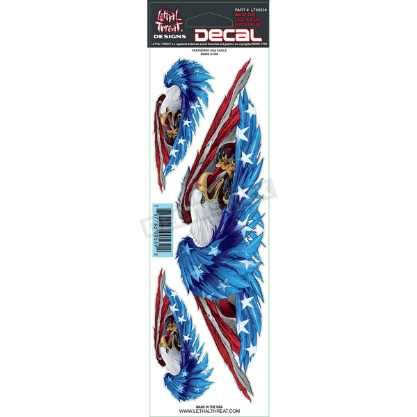 Lethal Threat Feather USA Eagle Decal Set - LT00539