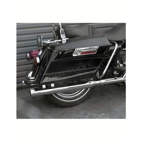 Cycle Shack Chrome One-Piece Dresser Straight Cut Bazooka Tube Slip-On Mufflers w/Baffles and Woven Stainless Steel Sound Blanket - MHD-292STA