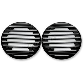 Covingtons Customs Gloss Black Finned Ultra Rear Speaker Grills - C0022-B