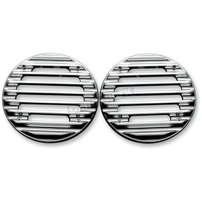 Covington Cycle City Chrome Finned Ultra Rear Speaker Grills - C0022-B