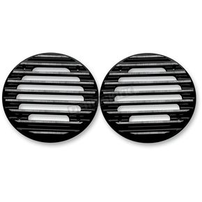 Covingtons Customs Black Finned Ultra Rear Speaker Grills w/Diamond Edge - C0022-D