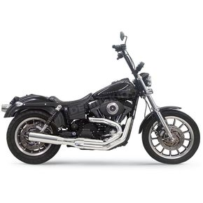 Bassani Chrome Road Rage 4 in. Straight Can 2-into-1 Exhaust System w/ Contrasting Machined Flutes - 1D48R