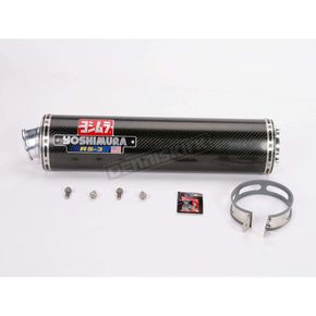 Yoshimura RS-3 Oval Race Bolt-On Muffler with Glossy Carbon Fiber Muffler Sleeve - 1115452