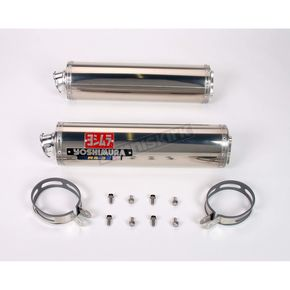 Yoshimura RS-3 Dual Oval Race Bolt-On Muffler with Polished Stainless Steel Muffler Sleeves - R149SO