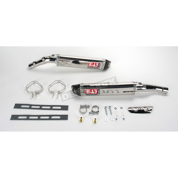 Yoshimura High Exit TRC Tri-Oval Dual Slip-On Muffler with Polished Stainless Steel Muffler Sleeve - 1313275