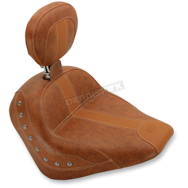 Mustang Seats Brown Vintage Solo Seat w/Driver Backrest and Nickel Studs - 76526