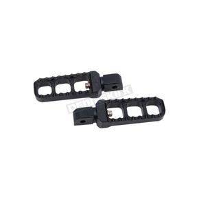 Black Narrow Serrated Passengers Footpegs - 08-61-7B