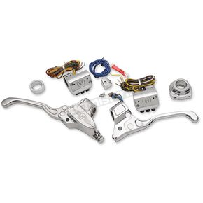 Performance Machine Chrome Handlebar Control Kit w/Cable Clutch - 0062-4019-CH