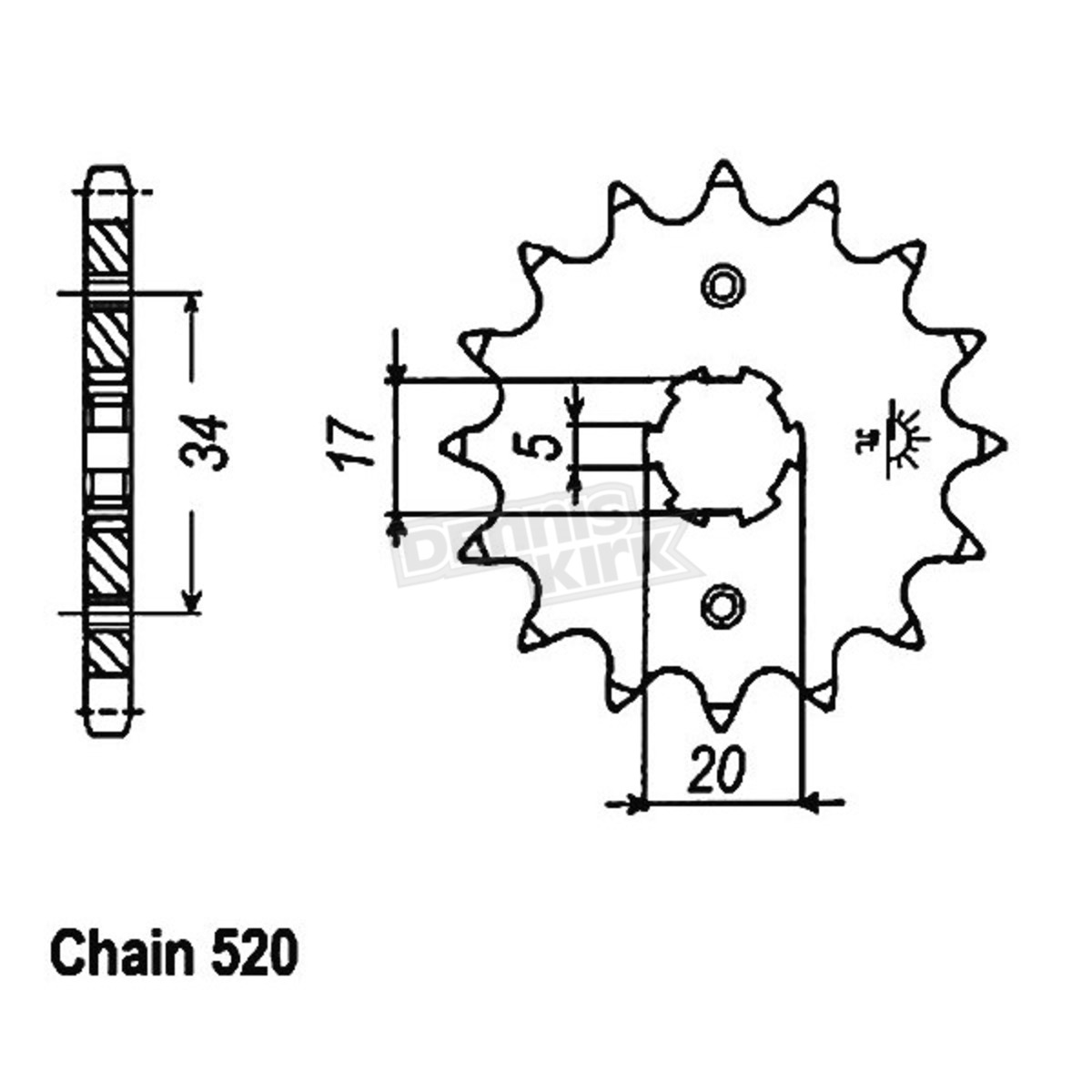 JT Sprockets JTSK3029 520X1R2 Chain and 15 Front//48 Rear Tooth Sprocket Kit