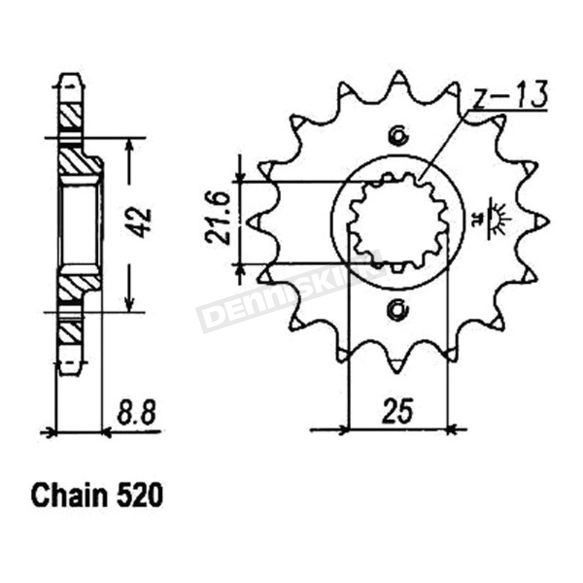 JT Sprockets JTSK2013 520X1R Chain and 14 Front//45 Rear Tooth Sprocket Kit