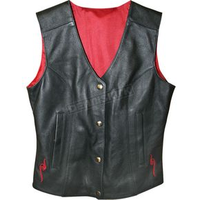 Power-Trip Ladies Scarlet Leather Vest - 9041-5006