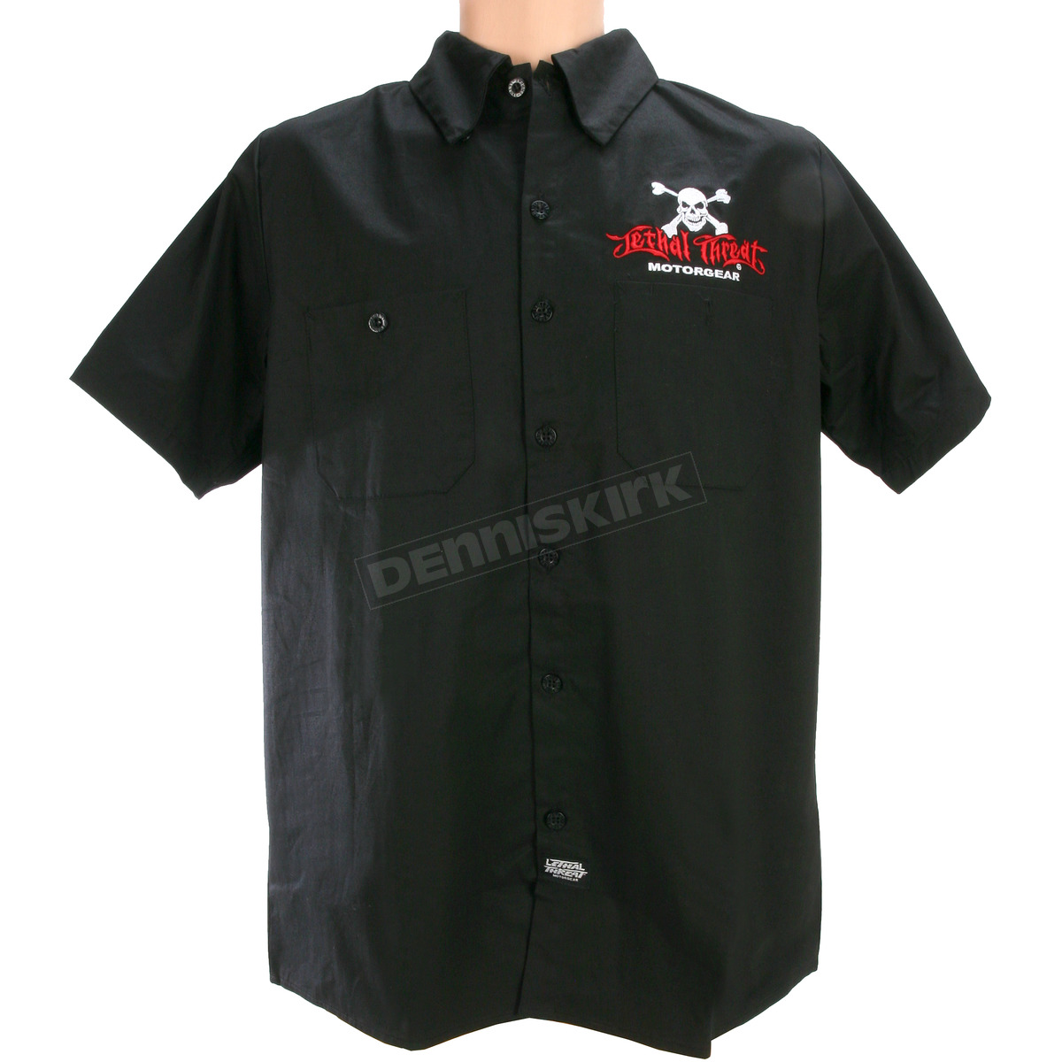 Lethal threat motorcycles embroidered work shirt