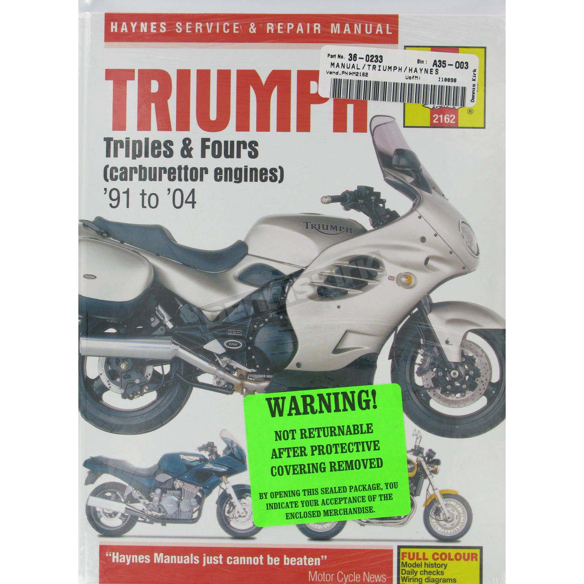 Haynes Triumph Motorcycle Repair Manual - 2162