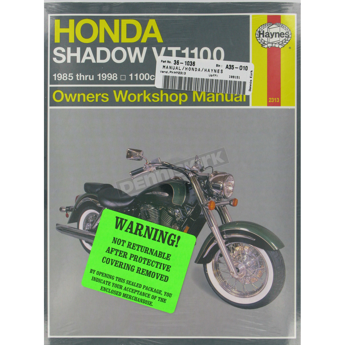 Haynes Honda Shadow VT1100 Repair Manual - 2313