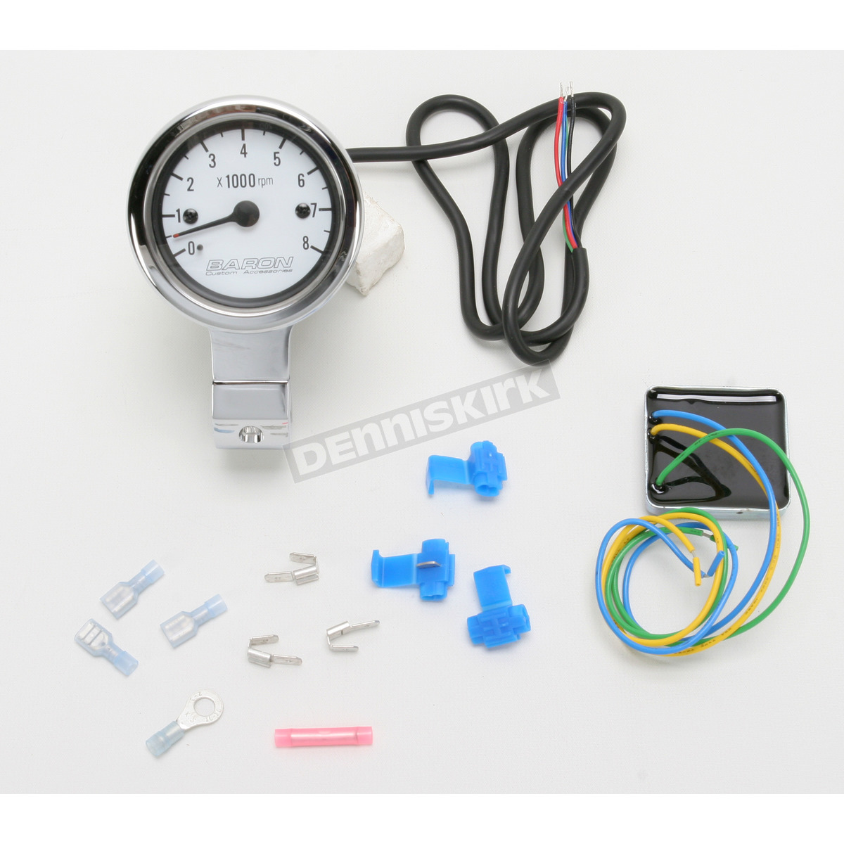 3 in. Bullet Tachometer White Face for 1 1/4 in. Bars - BA-7571U  In Tachometer Wiring on