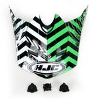 Green/Black/White Visor for HJC CL-XY Wanted Youth Helmet - 274-949