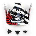 Black/Red/White Visor for HJC CS-MX Charge Helmet - 310-919