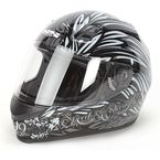 Black/Silver To the Nines SS700 Helmet - 87-5992