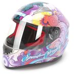 Purple Flower Power SS1100 Helmet - 87-6445