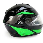 Black/Green/Silver IS-MAX 2 MC-4 Elemental Snowmobile Helmet w/Electric Shield - 58-23441