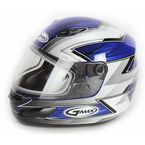 Blue/White/Silver/Black GM48S Razor Snowmobile Helmet with Dual Lens Shield - 72-6252L