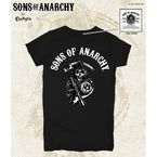 Womens Black SOA Arched with Reaper T-Shirt - 28-444-2BK-L