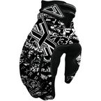 Black/White Logo Print Cold Cross Gloves - 2804