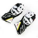 Black/White/Flourescent Yellow/Red GP Plus Leather Glove - 3556513-1053-L