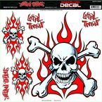 Red Flame Skull Decal - 1600-0129