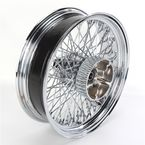 16 in. x 5.00 in. Chrome 80-Spoke Rear Wheel Assembly w/Round Spokes - 06-110