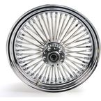 Chrome 16 x 3.5 Fat Daddy 50-Spoke Radially Laced Wheel for Dual Disc - 0203-0250
