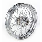 Front Chrome 16x3 40-Spoke Laced Wheel Assembly - 0203-0529
