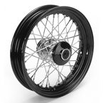 16 in. x 3 in. Front Lace Black Powder-Coated 40-Spoke Wheel Assembly - 225-S40FB