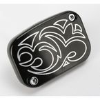 Front Black Engraved Brake Master Cylinder Cover - 03-443