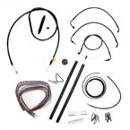 Midnight Stainless Handlebar Cable and Brake Line Kit for Use w/Mini Ape Hangers w/o ABS - LA-8010KT2-08M