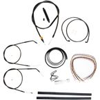 Midnight Stainless Handlebar Cable and Brake Line Kit for Use w/Cafe Ape Hangers w/o ABS - LA-8320KT2A-0CM