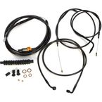 Midnight Stainless Handlebar Cable and Brake Line Kit for Use w/18 in. to 20 in. Ape Hangers (w/o ABS) - LA-8100KT-19M