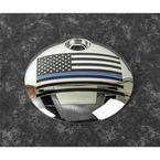 Chrome Blue Line American Flag Fuel Door Cover - LE03-13