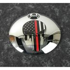 Chrome Red Line Skull Fuel Door Cover - FF13-13