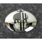 Chrome Black Stars and Stripes Punisher Fuel Door Cover - PATR22-13