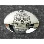 Chrome Sugar Skull Fuel Door Cover - SSKUL-13