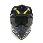 Matte Blue/Black/Yellow TX228 Shock Helmet - 504794